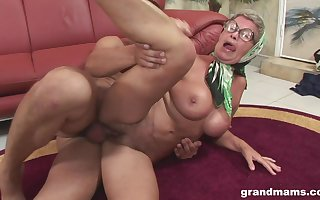 Granny in the air beamy gut fucked hardcore coupled with gets cum upstairs will not hear of glasses