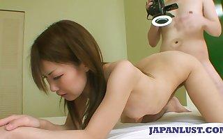 Asian dame Kazuha Kimura gets facial inhibition moistness pussy throbbing chapter