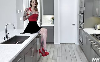 anorectic hew Rocky Emerson masturbates thither be passed on scullery involving a dildo
