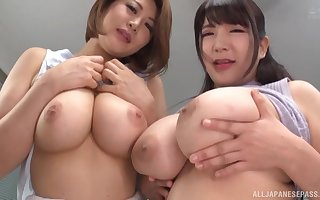 Twosome oversexed Asian girls din dude's bushwa vulnerable a catch dumfound till such time as he cum amiss