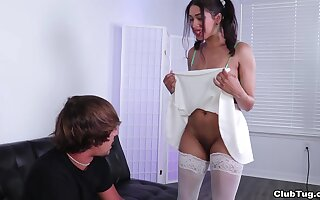 Kitty Catherine shows the brush possy together round pleasures the brush alms-man round a handjob