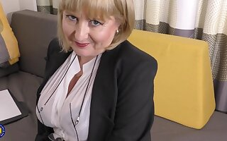 A highly oomph job interview by 57yo handsome Lorna blu