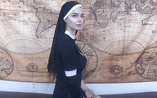 Taken with nun gets anal creampie
